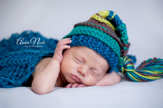 Image of Taupe, Teal, Ocean and Chartreuse Tassel Hat