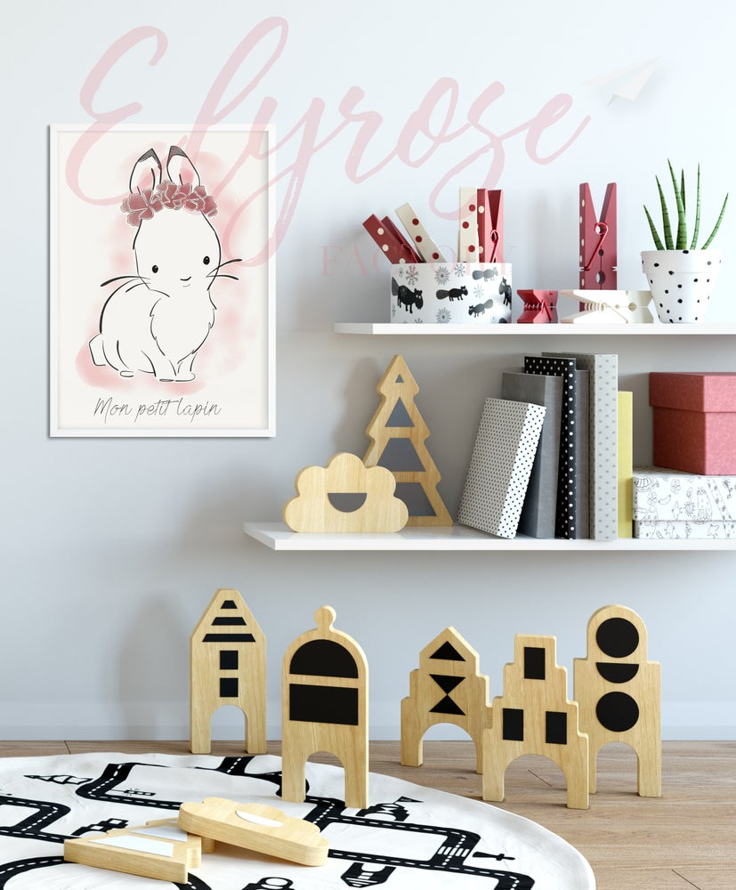 Image of Affiche Animaux - Mon petit lapin rose