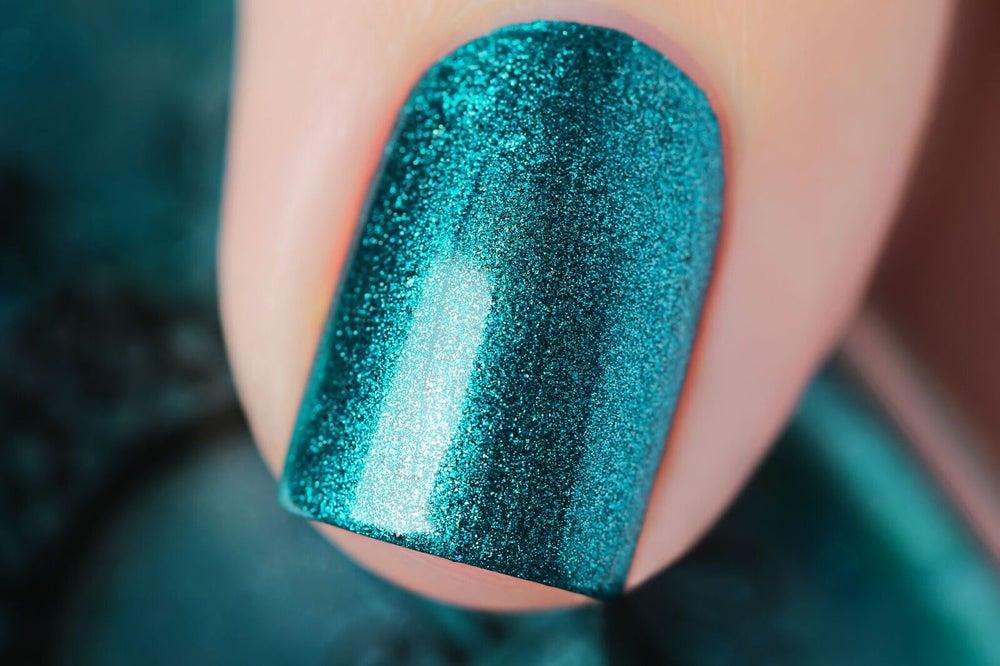 Image of ~Vagabond~ rich, vibrant teal green metallic chrome Spell Polish!