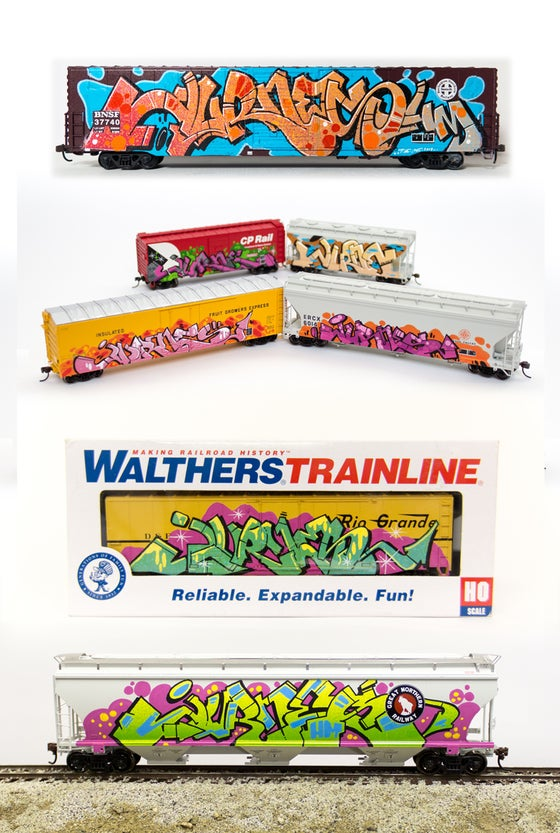 Image of hand-painted JURNE ho-scale train