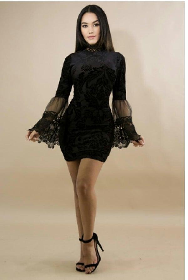 Image of velvet flower bell turtle neck dress