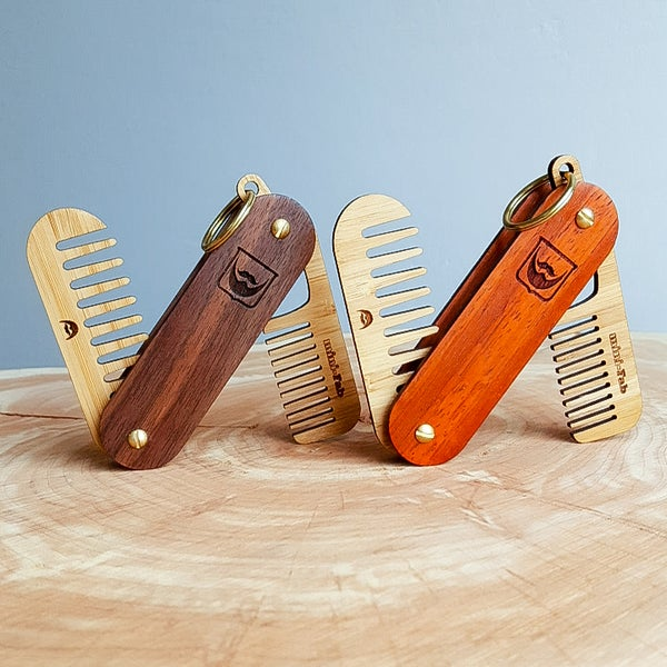 Image of Beard Comb Keychain - Personalized Pocket Grooming Set Made of Premium Hardwoods
