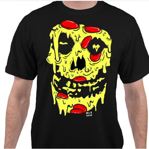 Image of DELADESO X PIZZABOYZZZ BLACK PIZZA REAPER TEE