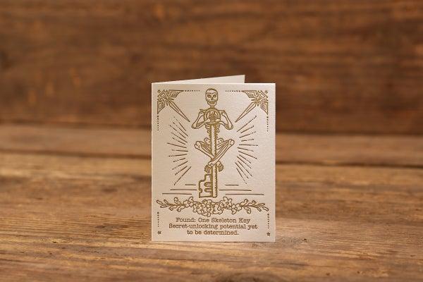 "Image of Skeleton Key Letterpress Card (A2: 5.5 x 4.25"")"