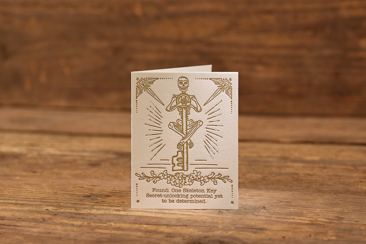 "Image of Skeleton Key Letterpress Card (A2: 5.5 x 4.25"")"