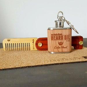 Image of Beard Comb & Beard Oil Kit - Personalized Folding Wood Beard Gift Set - Gifts for Men