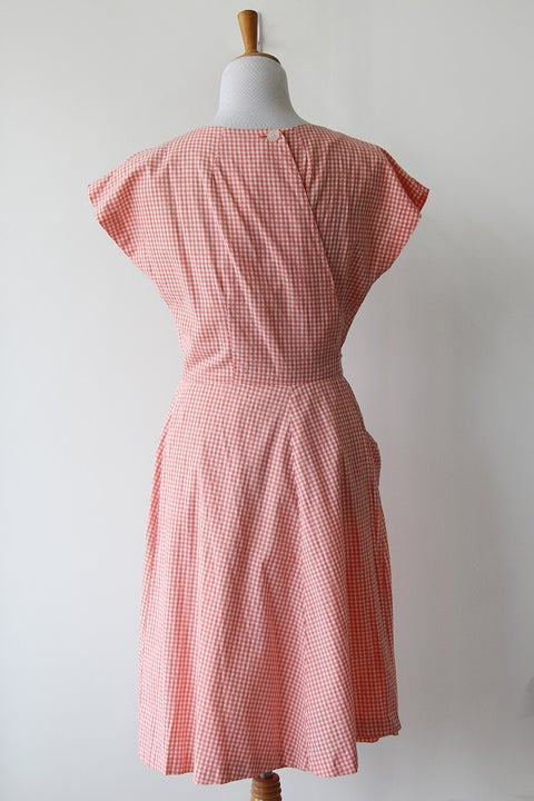 Image of SOLD Swirl 1950s Gingham Wrap Dress