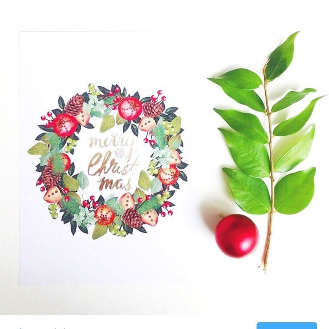 Image of Merry Christmas Wreath Print