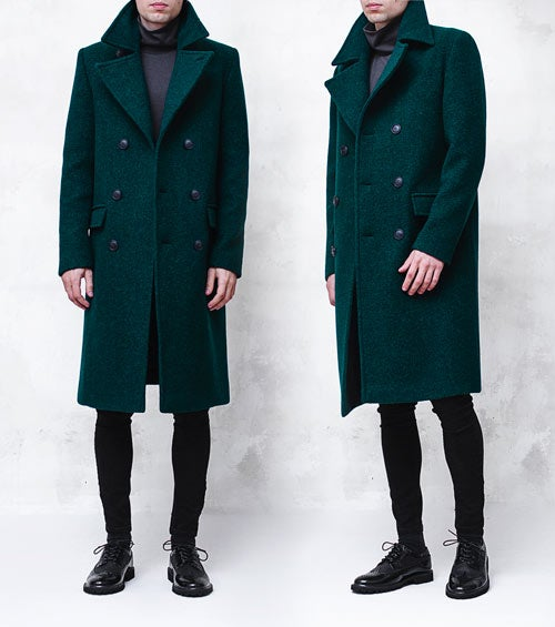Image of LIMITED EDITION | Dark Green Wool-Blend Bouclé Overcoat