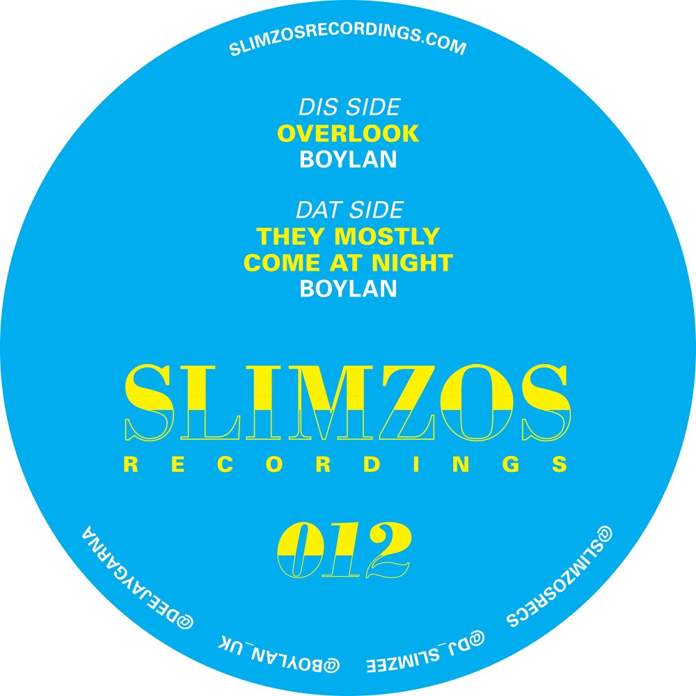 Image of Slimzos 012 Vinyl- Boylan Overlook/TheyMostlyComeAtNight