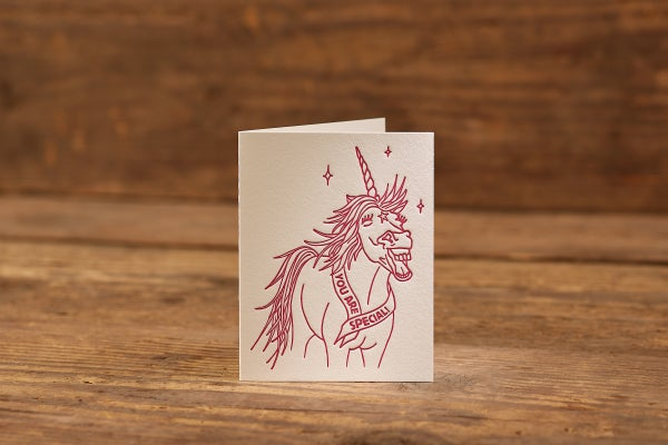 """Image of Special Unicorn Letterpress Card (A2: 5.5 x 4.25"""")"""