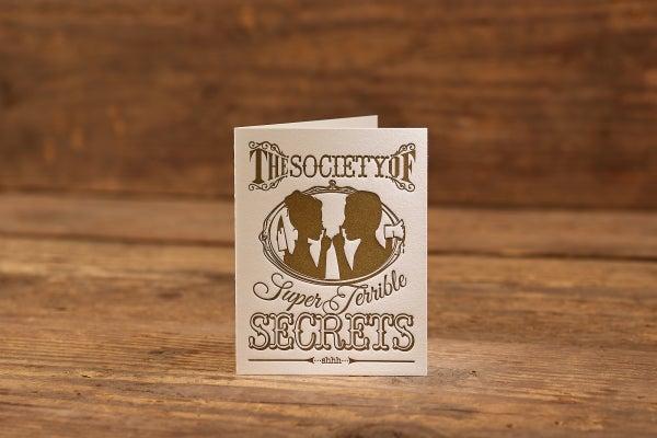 "Image of Super Terrible Secrets Letterpress Card (A2: 5.5 x 4.25"")"