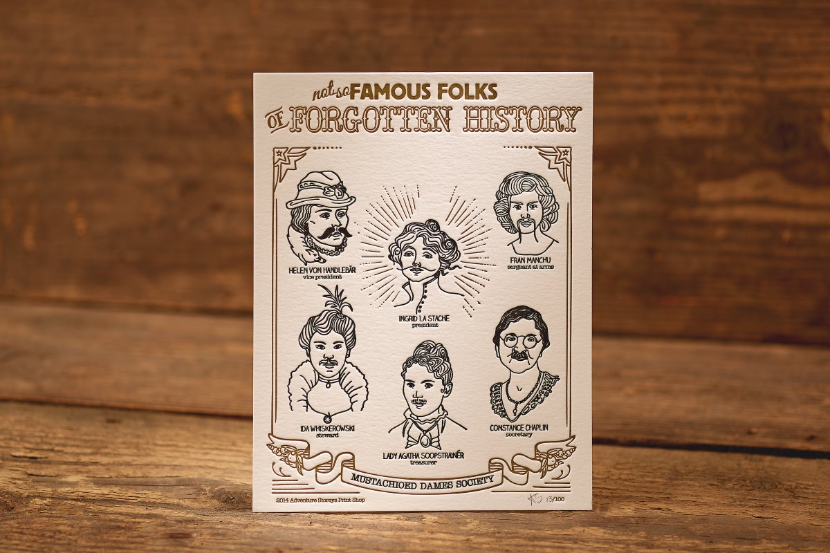 """Image of Mustachioed Dames - Limited Edition Letterpress Print (8.5 x 11"""")"""