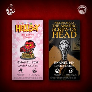 Image of Hellboy/B.P.R.D.: itty bitty Hellboy and The Amazing Screw-On Head pin set