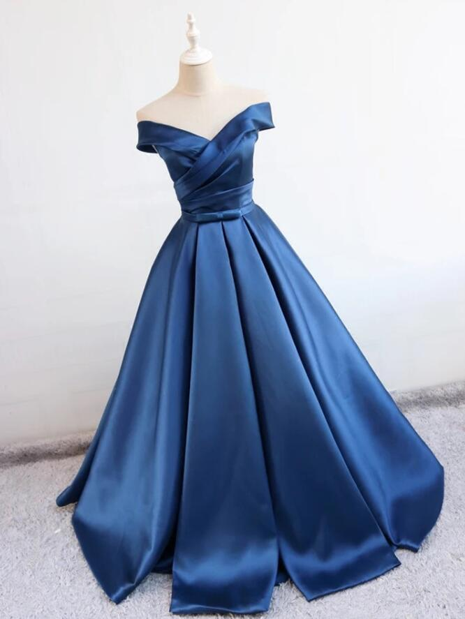 Navy Blue Prom Dresses 2018 Satin Party Dresses Formal