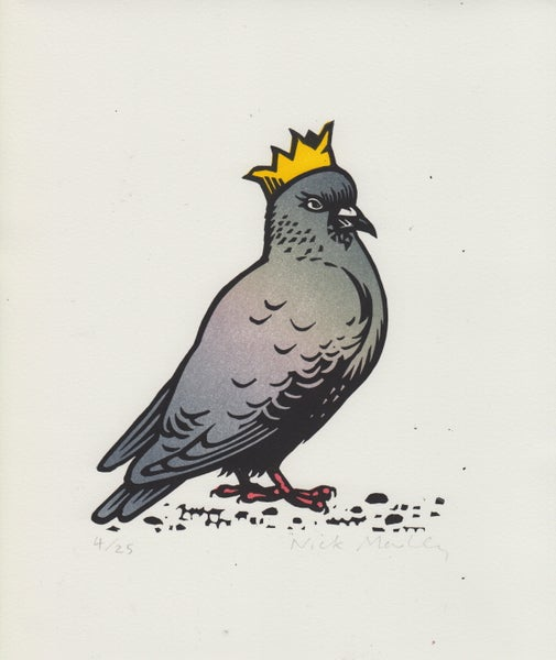 Image of Party Pigeon linocut