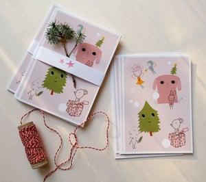 Image of 5 Christmas postcards - Pink
