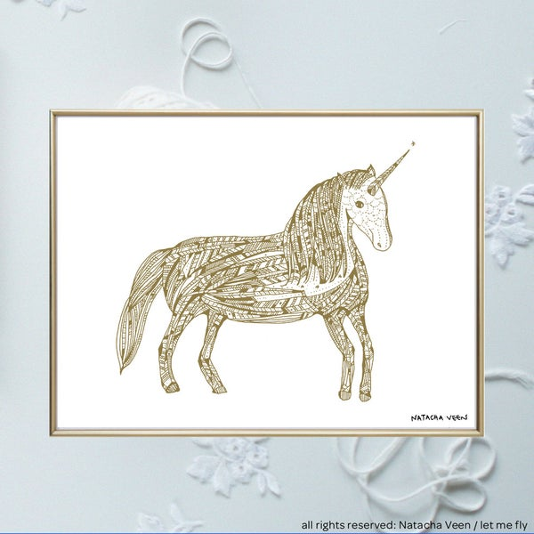 Image of gold *unicorn*_A4
