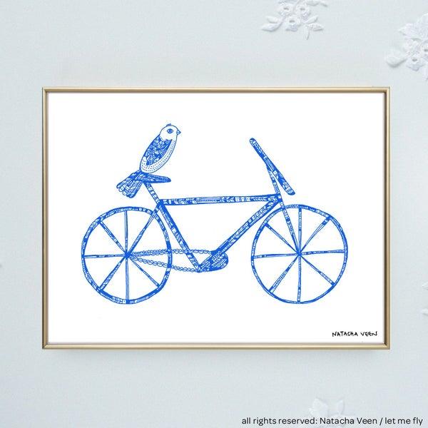 Image of Blue *bike & bird*_18x24 cm