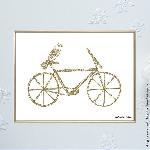 Image of Gold *Bike & Bird*18x24 cm