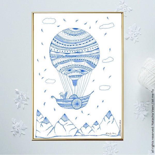 Image of Blue *Hot air ballon*_A4