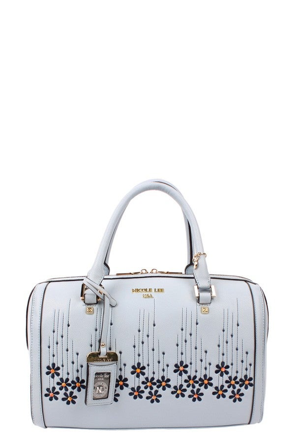 Image of Nicole Lee Rosalie Floral Embroidery Boston Bag