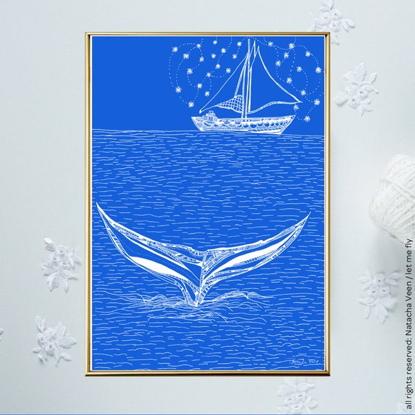 Image of Blue *Boat&Whale*_18x24cm