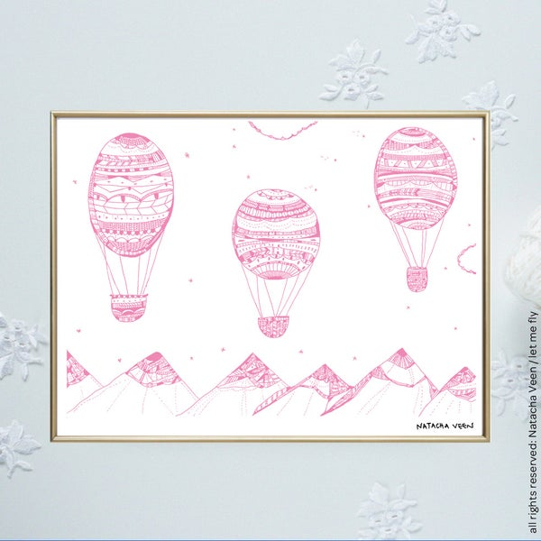 Image of Pink *Hot air ballon*_18x24cm