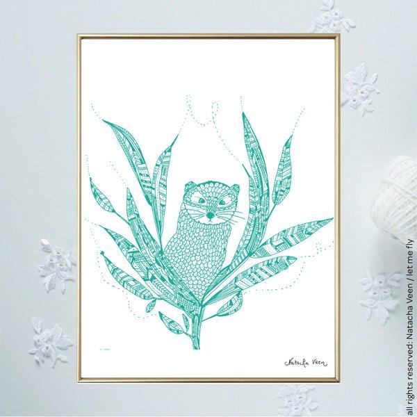 Image of Green *Shy Bird*_18x24 cm