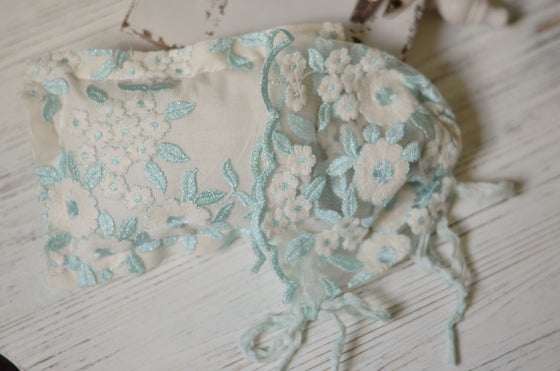 Image of Mint/ cream High fashion lace bonnet/pillow set