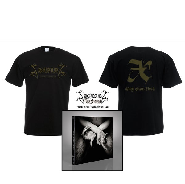 "Image of PREORDER Shining ""X - Varg Utan Flock"" SIGNED digipak cd plus shirt bundle"