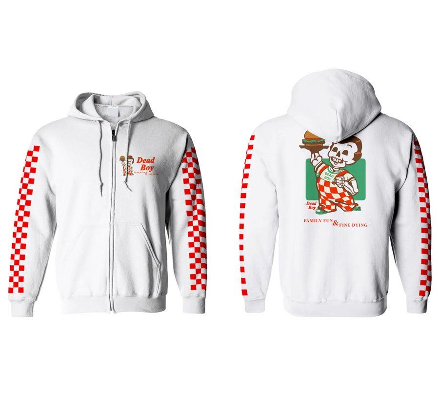 "Image of ""DEADBOYBURGER"" zip up hoodie"
