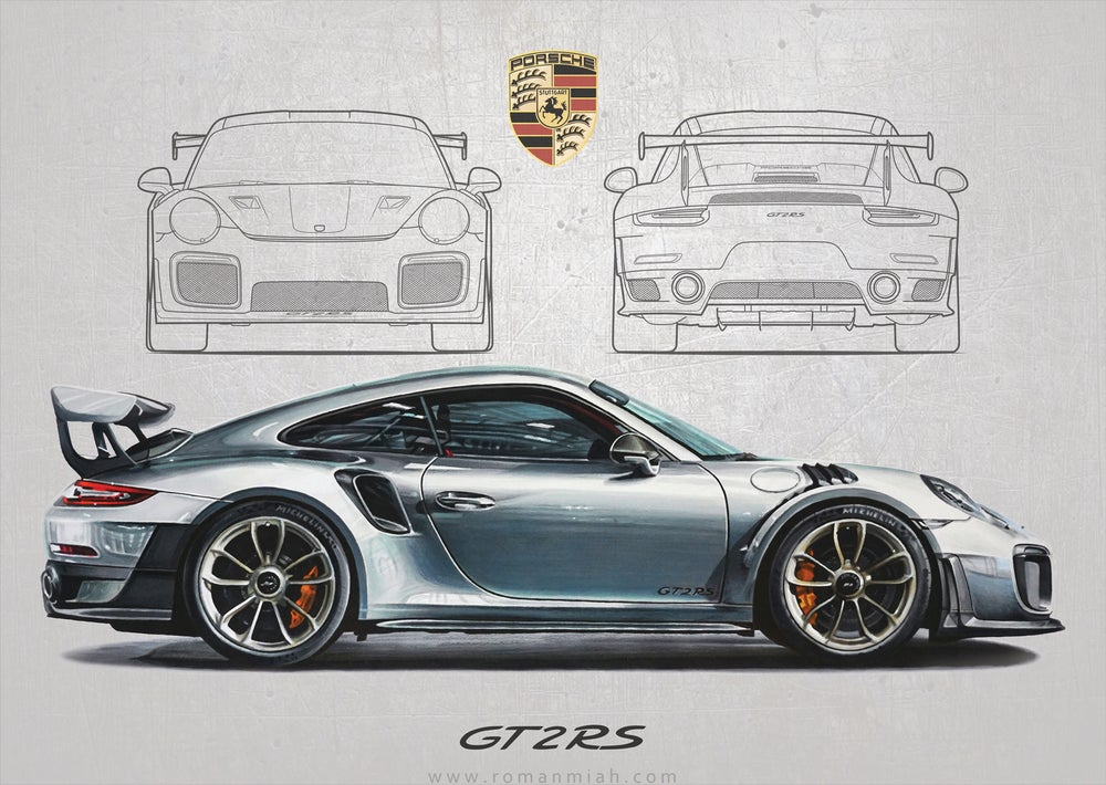 porsche 911 gt2 rs poster print roman miah. Black Bedroom Furniture Sets. Home Design Ideas