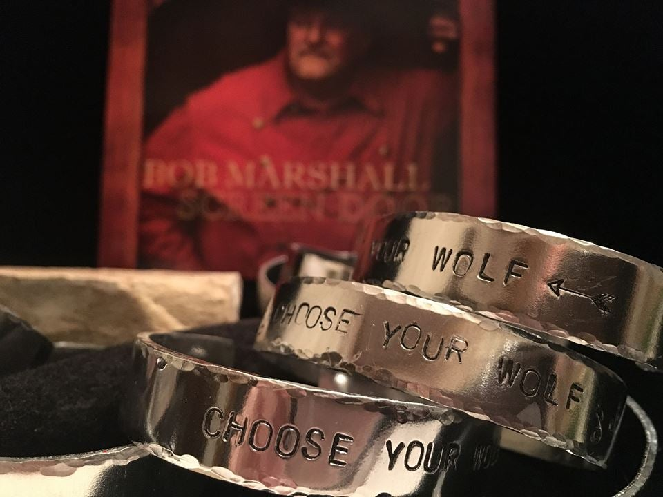 "Image of ""Screen Door"" CD, a ""Choose Your Wolf"" T shirt, and Bracelet"