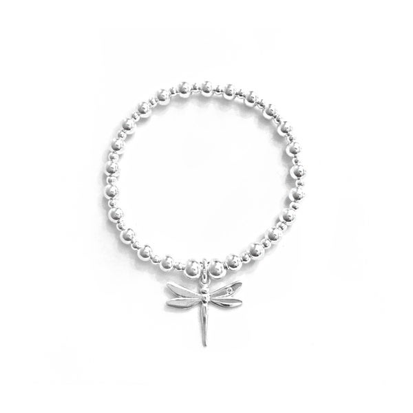 Image of Sterling Silver Dragonfly Charm Bracelet