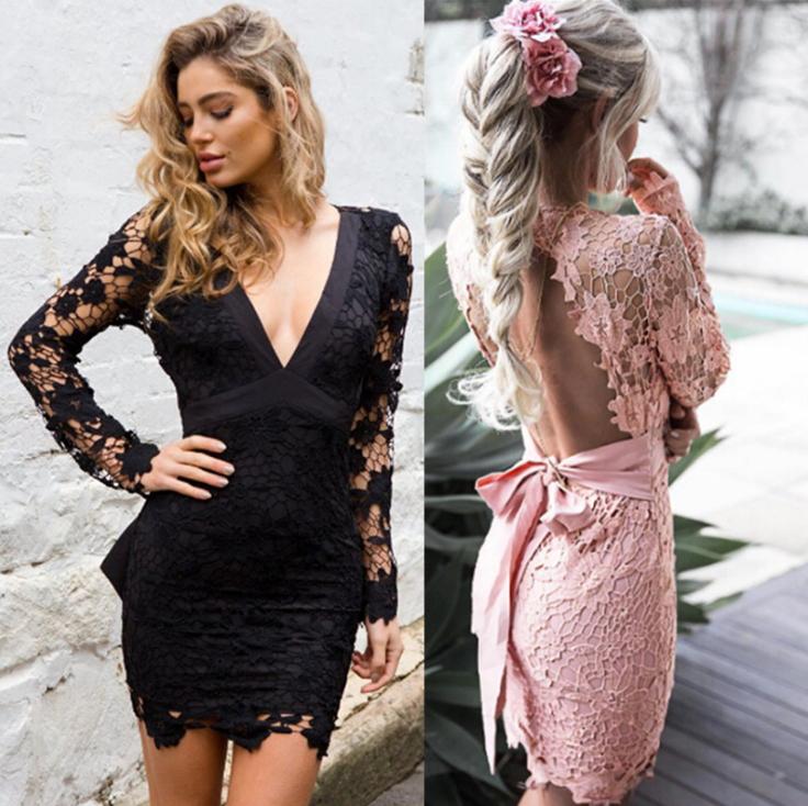 Image of Sexy deep v-back lace lace dress