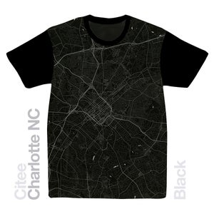 Image of Charlotte NC map t-shirt