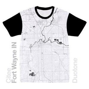Image of Fort Wayne IN map t-shirt