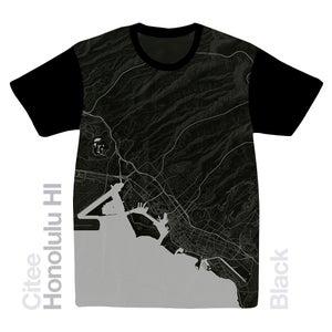 Image of Honolulu HI map t-shirt