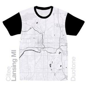 Image of Lansing MI map t-shirt