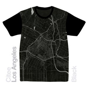 Image of Los Angeles CA map t-shirt
