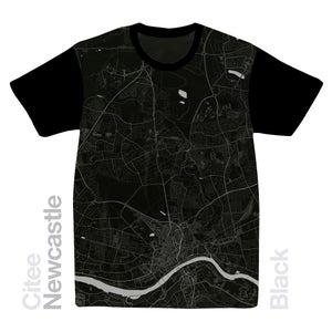 Image of Newcastle map t-shirt