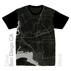Image of San Diego CA map t-shirt