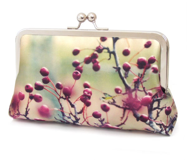 Red berries silk clutch bag - Red Ruby Rose