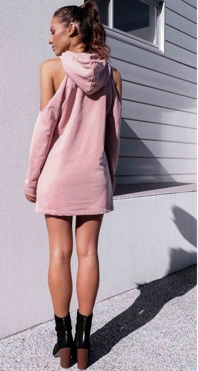 Image of The letter-print strap-hooded hoodie dress