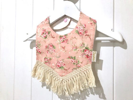 Image of Boho Tassel Bib - Tiny Rose