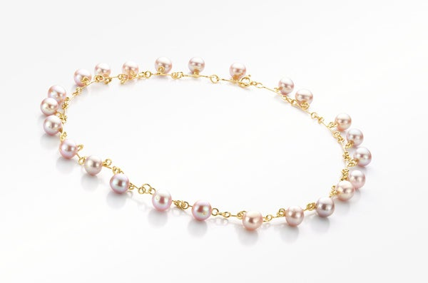 Image of Pure Line necklace gold pink pearls
