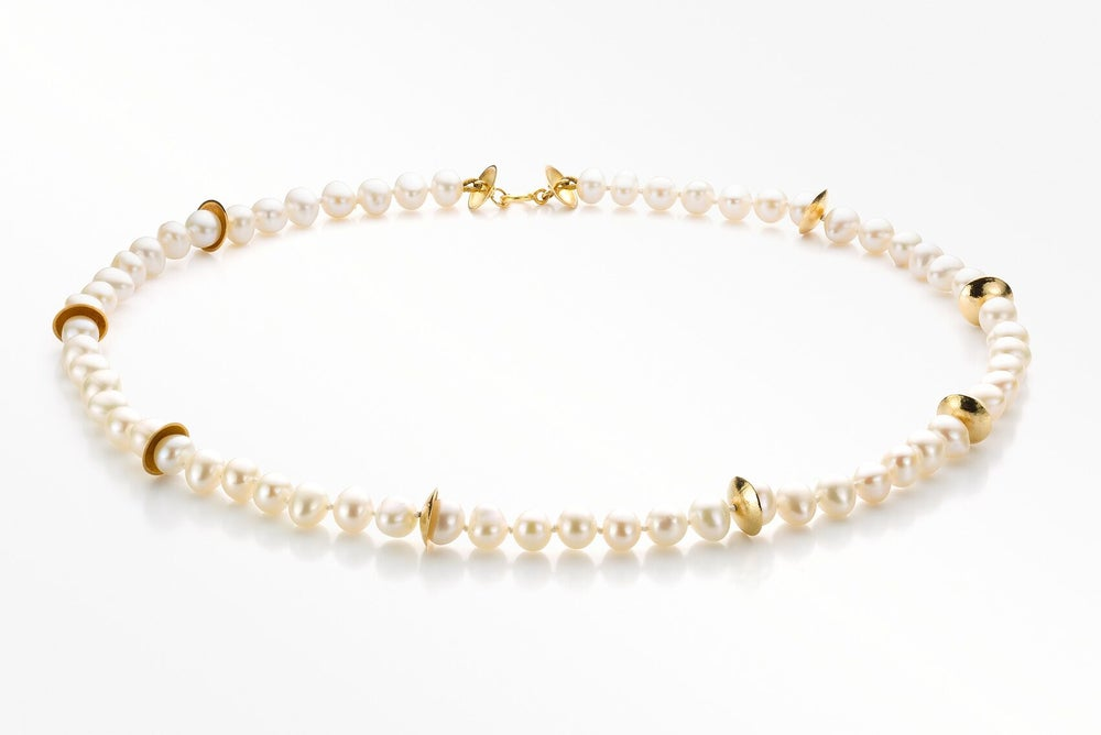 Image of Pure Line necklace gold white pearls