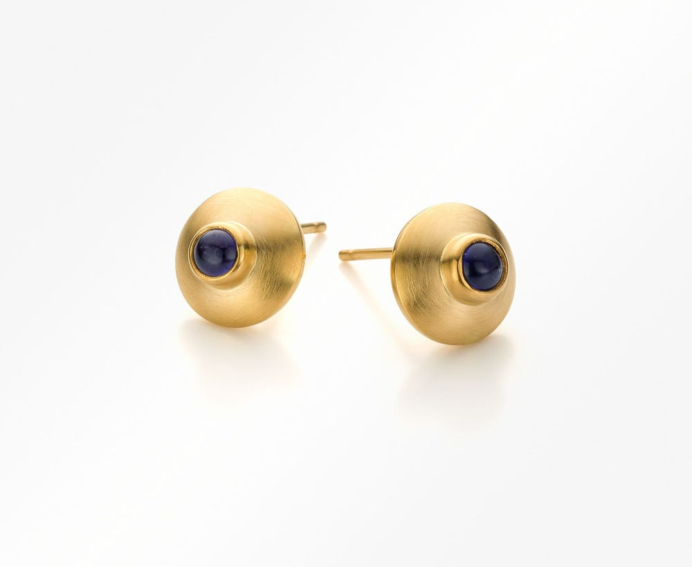 Image of Pure Line earrings gold iolite