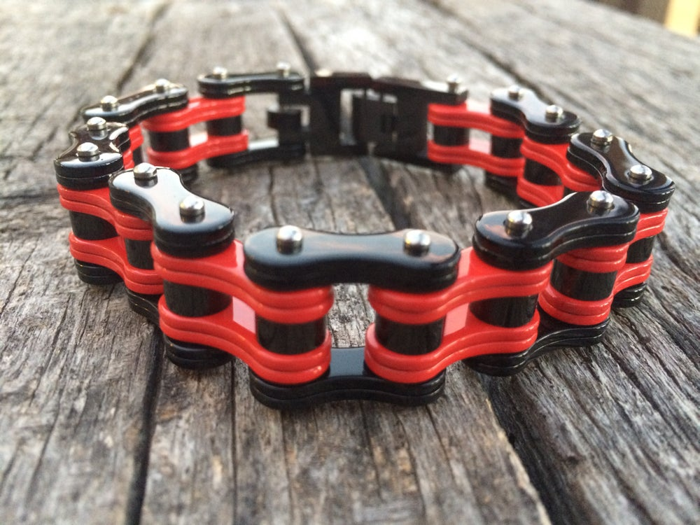Image of Red and black Stainless Steel Chain Bracelet